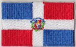 Dominican Republic Embroidered Flag Patch, style 04.